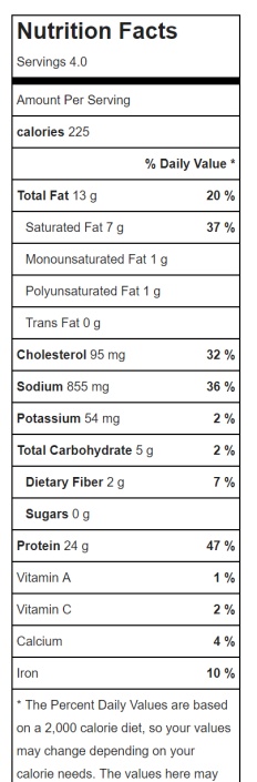 Chicken Sausage nutrition lable